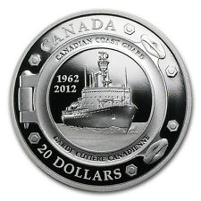 2012 1 oz Silver Canadian $20 - 50th Anniversary of Coast Guard