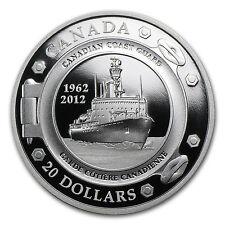 2012 1 oz Silver Canadian $20 - 50th Anniversary of Coast Guard