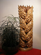 Magnificent Carving By A Master Carver 42 Inches Long 13 Inches Wide Of 8 Masks