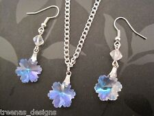 CRYSTAL CLEAR AB SNOWFLAKE Necklace & Earrings Gift Box Set XMAS Glass Pretty