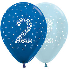2nd Birthday Metallic & Pearl Blue 30cm Latex Balloons 6pk Boy Party