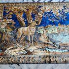 VINTAGE detailed vibrant WALL TAPESTRY WILDLIFE DEER DOE BUCK  80 x 48 frm Italy