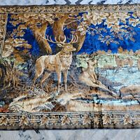 VINTAGE detailed vibrant WALL TAPESTRY WILDLIFE DEER DOE BUCK  80 x 48 frm Italy
