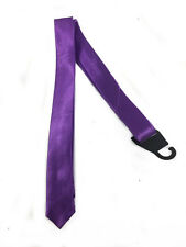 """Solid Purple Men Boy Unisex  Skinny Slim Retro Tie 1.5"""" Wide Thin Necktie"""