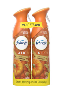 Febreze Odor-Eliminating Air Refresher Spray, Fresh Harvest Pumpkin, Pack of 2