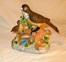 "Vintage Figurine Statue Bisque Mother Bird Robin Feeding Baby Hand Painted 5"""