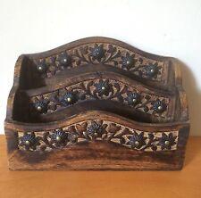 Letter Rack Floral Design Desk Tidy Post Organiser Retro Handmade Wooden
