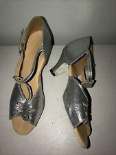 Girls Size 1 Silver Sparkly Leather Dance Shoe Peep Toe Small Heel Ballroom