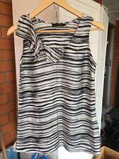 Women David Lawrence Top Blouse Sleeveless Size6 Silk Striped