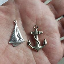 """""""SAILBOAT / ANCHOR"""" scrapbook jewelry charm craft metal Silver Tone New"""