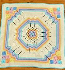 """Hand Crocheted Baby Blanket Afghan Pastel Multicolor White Soft 32"""" x 32"""""""
