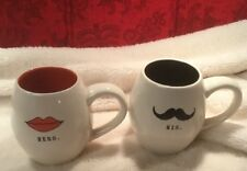 RAE DUNN HIS HERS LIPS MUSTACHE Valentines Day MUGS NEW, Rare, HTF