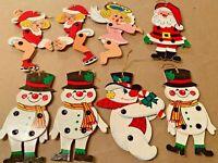 VINTAGE CHRISTMAS SANTA FROSTY SEXY LADY ORNAMENTS JOINTED CARDBOARD FROSTY LOT