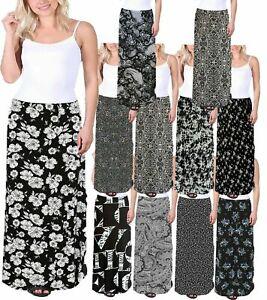 Plus Floral Maxi Skirt Ladies Floral Print Full Length Elasticated Waist 14-28