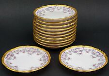 Elite Limoges Rose Swags Purple Gold Set of 12 Porcelain Butter Pats
