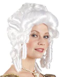 Ladies White Baroque Wig Ringlet Curls Womens Victorian Fancy Dress Costume