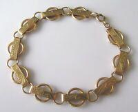 9ct Gold Bracelet - Vintage 9ct Yellow Gold Bracelet (7 inches)