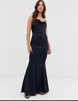 New Lipsy Navy Blue  Lace Halter Frill Skirt Maxi Dress Sz UK 6 8 10 12