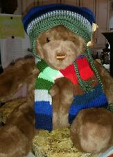 New Gund Lord & Taylor Bear Exclusive Collector 2000 Christmas Scarf Hat  #D7