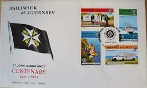 """Guernsey Stamps: """"St. John Ambulance Centenary"""" - First Day Cover 1977"""