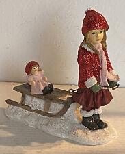 Clayre Eef Weihnachten Deko Weihnachtsschmuck Winterkind mit Schlitten 11x4x11cm