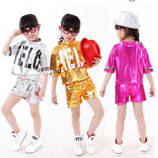 Kids Dance Costumes Sequins Boy Girls Modern Dancewear Jazz Hip Hop Coat&Pants