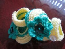 ideal gift hand knitted mary jane type baby shoes 0-3 months