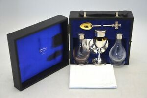 Gilded Travelling Sick Call Communion Set 6 Piece Sterling Silver – London 1960