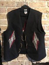 Vintage Ortegas Chimayo Size 46 Hand Woven Cotton Vest Black