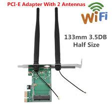 Mini Pci-e Express to PCIe Wireless WiFi Adapter 2 Antenna Board Half Size Card
