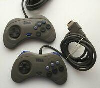 Lot of 2 Sega Saturn Official Authentic Original Controllers Gray - US SELLER