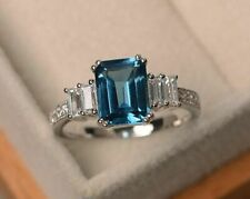 London blue topaz engagement ring sterling silver emerald cut promise ring