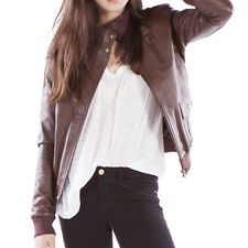Leather Bomber Jacket Womens - Chocolate