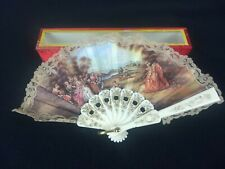 "Victorian French Colonial Hand Folding Mini 5"" Fan Lace Courting Scene Vintage"