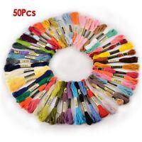 50 Docken Sticktwist Stickgarn 8m 6-faedig Multicolor farblich bunt T7W2) J1