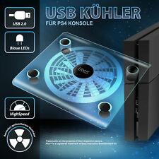 Playstation 4 USB Kühler Lüfter PS4 Ständer blaue LED Beleuchtung Slim Cooler