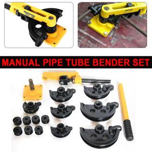 "10-25mm Manual Pipe Bender Metal Tube Bench Bending Machine + 7x Dies 3/8""-1''"