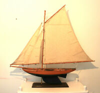 "Vintage Yacht sailing model boat wooden pond  32"" tall handmade brass fittings"