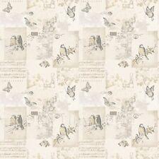 Dolls House Miniature Pale Beige Birds And Butterfly Wallpaper