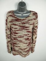WOMENS MANGO RED/NATURAL KNIT LONG SLEEVED CASUAL BOAT NECK JUMPER SIZE S SMALL