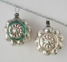 Set 2 Lantern Flower Vintage Xmas Decor Christmas Russian Glass Ornament Ussr