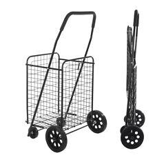 Large-Capacity Supermarket Folding Shopping Cart Maximum Load 77Ibs Black Us