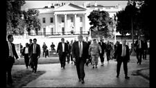 President Donald Trump walking from White House to St. John's Church B&W photo