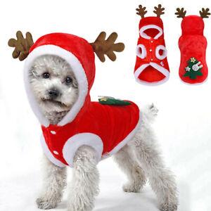 Christmas Pet Dog Hooded Elk Xmas Winter Warm Clothing Fleece Jacket Coat UK