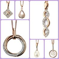 9ct Rose Gold Diamond, Freshwater Pearl Pendant Necklace Chain different styles