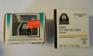 Vintage Oil Of Olay Hydro-Night Renewal Gel 1.7oz + Daily UV Protectant SPF 15
