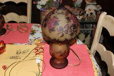 Stunning Galle Glass Table Lamp-Purple Flowers-Tip Galle-Art Glass Lamp-#1-LQQK