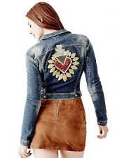 New Women's sz XS GUESS Whitney Sequin & Metallic Heart Patch Denim Blue Jacket