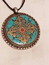Tibetan Turquoise and Coral Pendant
