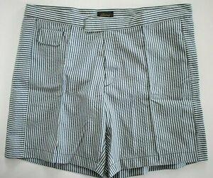 "🆕️ BRIONI Midnight Blue White SEERSUCKER SWIM Shorts Trunks Swimwear S W-32"""